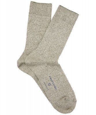 Profuomo Profuomo heren beige gemêleerde sokken