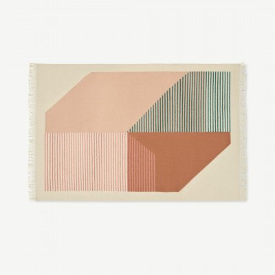 MADE.COM Firth vloerkleed van 100% katoen, groot, 160 x 230 cm, roze en terracotta