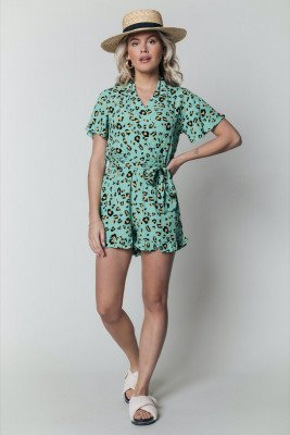 Colourful Rebel Kes Leopard Collar Playsuit   Turquoise