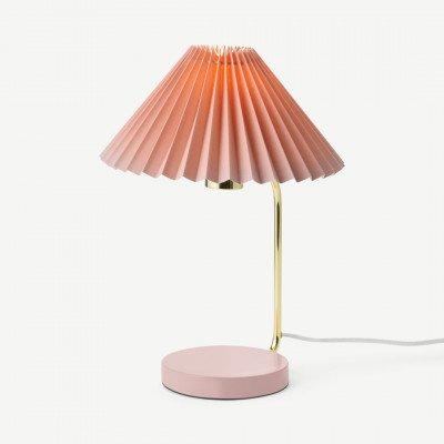 MADE.COM Gaby tafellamp met geplooide kap, messing en roze