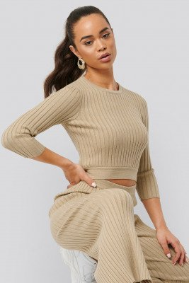 NA-KD NA-KD Round Neck Ribbed Knitted Sweater - Beige