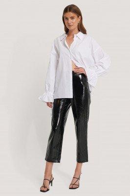 Hannalicious x NA-KD Hannalicious x NA-KD High Waisted Patent Pants - Black