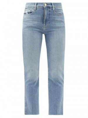 Matchesfashion Frame - Le Sylvie High-rise Cropped Jeans - Womens - Light Denim