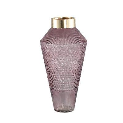 Ptmd siv roze glazen vaas met patroon rond l