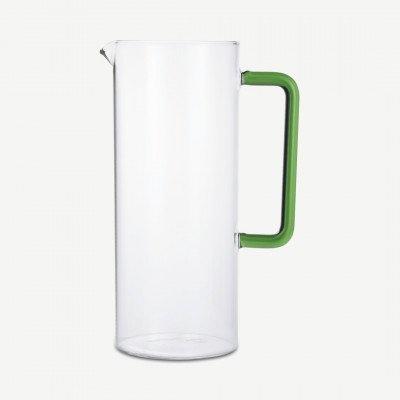 MADE.COM Ichendorf Milano glazen kan met groen handvat, 119 cl, transparant en groen