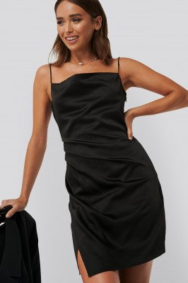 Erica Kvam x NA-KD Erica Kvam x NA-KD Draped Satin Dress - Black