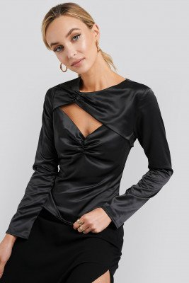 NA-KD Trend NA-KD Trend Cut Out Satin Long Sleeve Top - Black