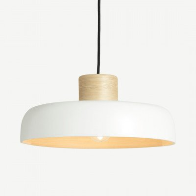 MADE.COM Todd hanglampenkap, wit en bamboe
