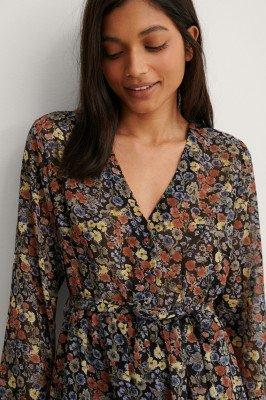 NA-KD Boho NA-KD Boho Self-Tie Printed Midi Dress - Multicolor