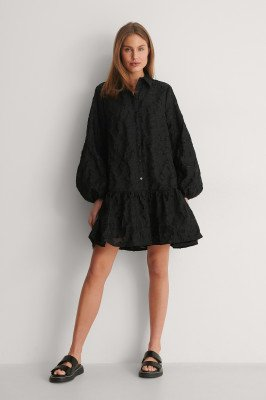 Curated Styles Curated Styles Mini-Jurk Met Ballonmouwen - Black