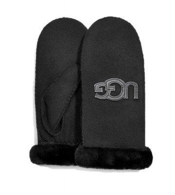 UGG UGG Sheepskin Logo Mitten Zwart Dames Handschoenen