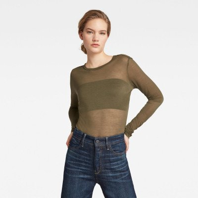 G-Star RAW Sheer Graphic Slim Fit Top - Groen - Dames