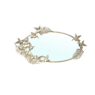 Firawonen.nl PTMD Keana Gold ijzeren antieke spiegel met vogels ovaa