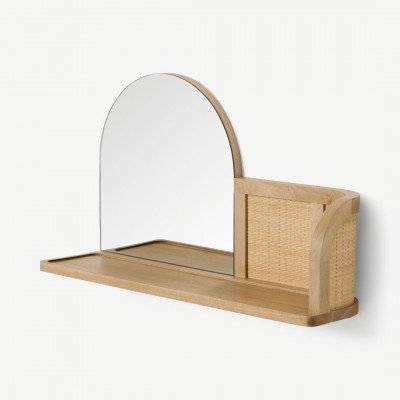 MADE.COM Liana spiegel met plank, essehout en rotan