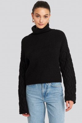 NA-KD Trend NA-KD Trend Cable Sleeve High Neck Sweater - Black