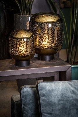 Firawonen.nl PTMD shevon goud tafellamp glas met luipaard print
