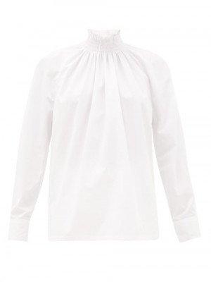 Matchesfashion Prada - High-neck Cotton-poplin Blouse - Womens - White