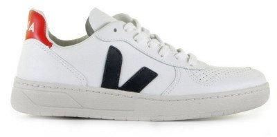 VEJA VEJA V-10 Leather Wit/Donkerblauw/Rood Herensneakers