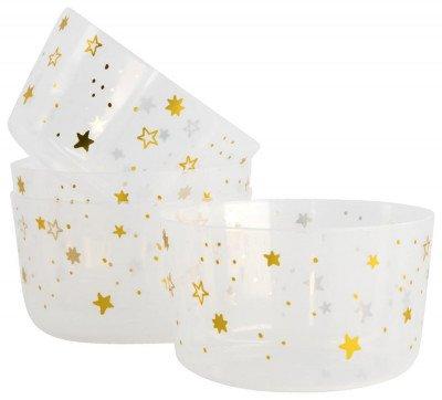 HEMA HEMA Plastic Bakjes Herbruikbaar Ø11x6.5 Gouden Sterren - 4 Stuks (goud)