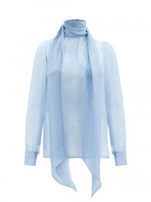 Matchesfashion Saint Laurent - Tie-neck Silk-chiffon Blouse - Womens - Light Blue
