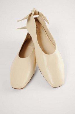 NA-KD Shoes NA-KD Shoes Leren Ballerina'S Met Strik - Beige