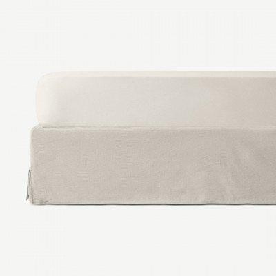 MADE.COM Brisa hoeslaken van 100% linnen, tweepersoons, lichtbeige
