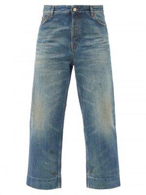 Matchesfashion Balenciaga - Distressed Organic-cotton Cropped Jeans - Womens - Denim