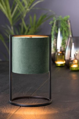 Light en Living Light & Living Tafellamp 'Santos' 35cm hoog, Mat Zwart, kleur Donkergroen