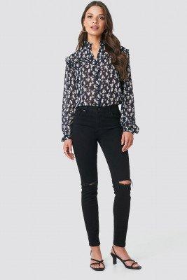 NA-KD NA-KD Skinny Jeans Met Middelhoge Taille En Scheuren - Black