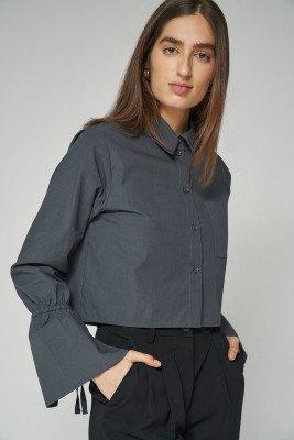 nu-in 100% Organic Tie Cuff Cropped Shirt