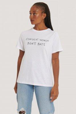 NA-KD Reborn Oversized T-Shirt Met Print - White