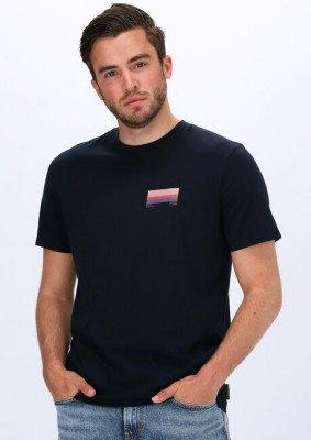 Scotch en Soda Blauwe Scotch & Soda T-shirt Graphic Logo T-shirt In Organi
