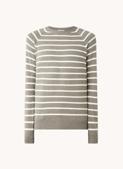 Profuomo Profuomo Fijngebreide pullover met streepprint