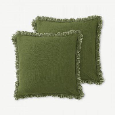 MADE.COM Sheedy set van 2 kussens met franje, 45 x 45 cm, mosgroen en lichtgroen
