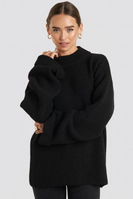 NA-KD NA-KD Ribbed Knitted Turtleneck Sweater - Black