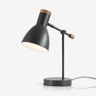 MADE.COM Cohen nachtkast lampje, diepgrijs en Amerikaanse eik