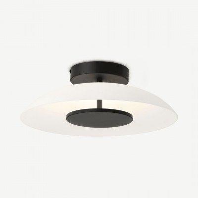 MADE.COM Ovie inbouw LED plafondlamp, zwart en matglas