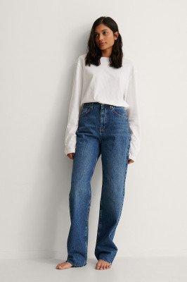 NA-KD Trend NA-KD Trend Organisch Jeans Met Wijde Pijpen - Blue