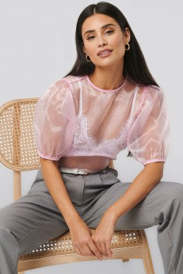 NA-KD Trend Puff Sleeve Blouse - Pink