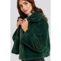 Rut&Circle Elin Faux Fur Short Jacket - Green