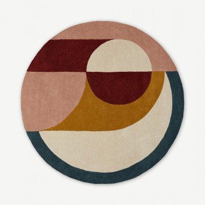 MADE.COM Bascome rond handgetuft vloerkleed van wol, 2 meter in diameter, meerkleurig