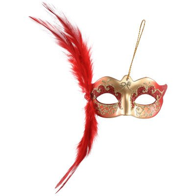 Firawonen.nl Venetian mask red hang mask with feather