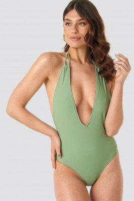 NA-KD Swimwear Halterneck Plunge Swimsuit - Green