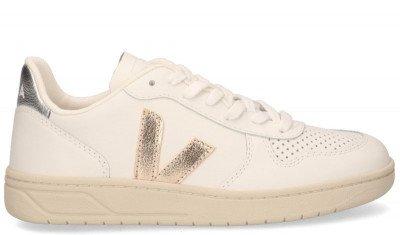 VEJA VEJA V-10 Leather Wit/Goud/Zilver Damessneakers