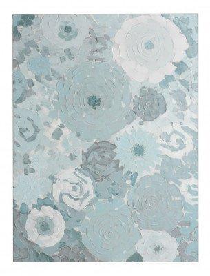 J-Line J-Line Schilderij 'Rogerius' Bloemen, kleur Mintblauw
