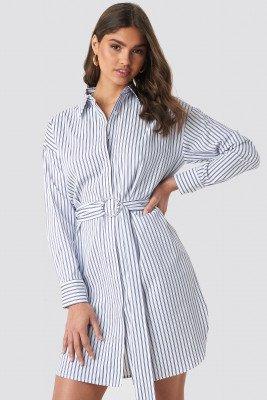 NA-KD Classic NA-KD Classic O-ring Striped Shirt Dress - Blue,Multicolor