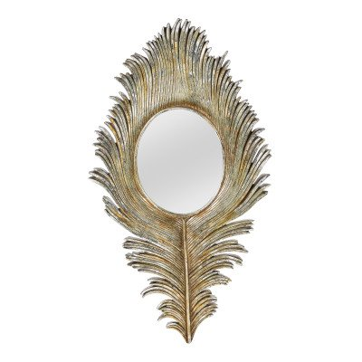 Firawonen.nl Tyson brass poly feather with round mirror