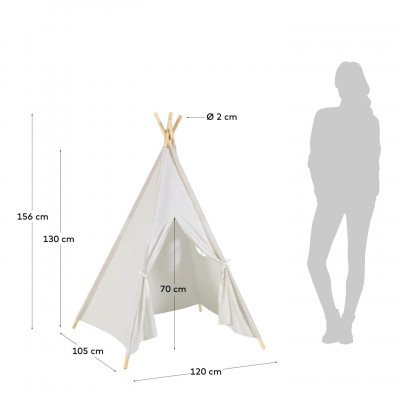 Kave Home Kave Home Tipi tent 'Darlyn', 156 x 120cm, kleur Wit