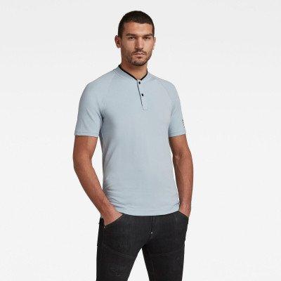 G-Star RAW Polo Baseball Collar Graphic Slim - Midden blauw - Heren