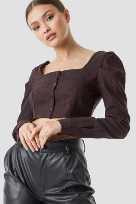 Trendyol Button Detailed Cropped Top - Brown